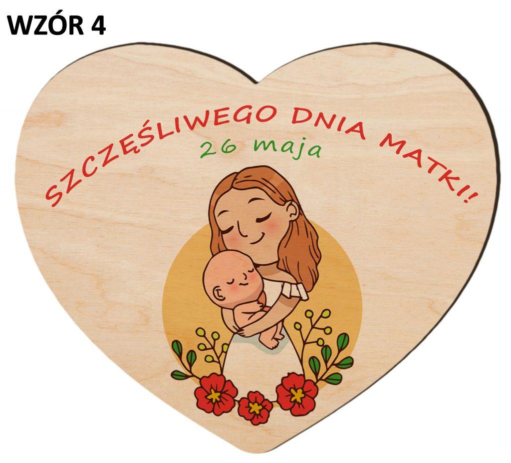 Serce z magnesem na Dzień Matki - wzór 4