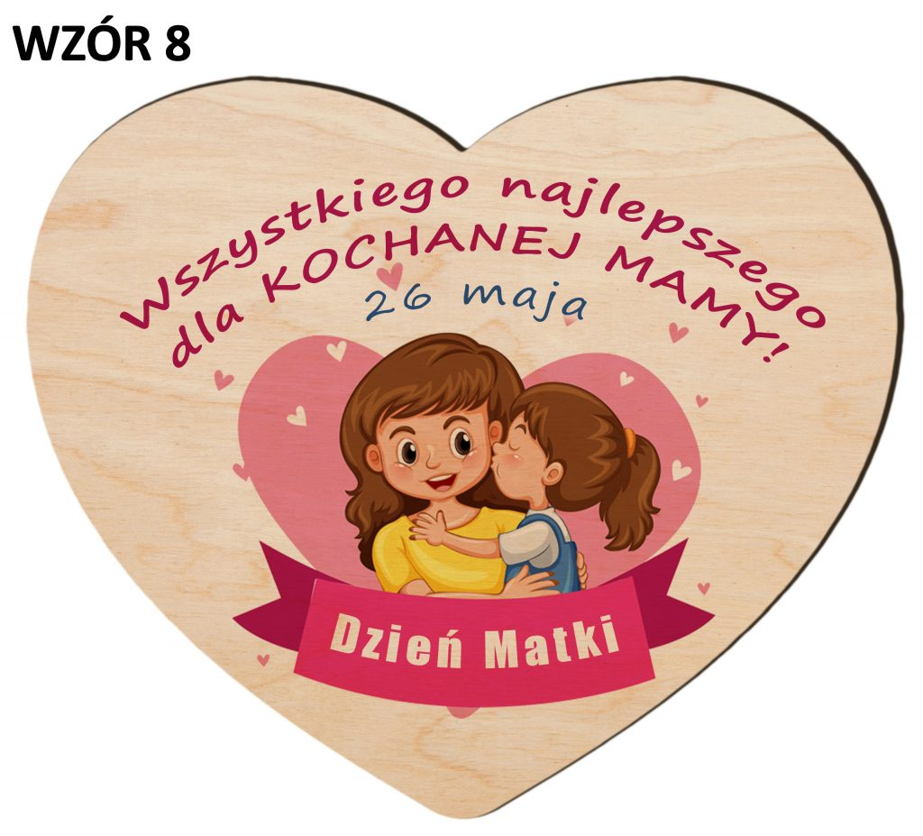 Serce z magnesem na Dzień Matki - wzór 8