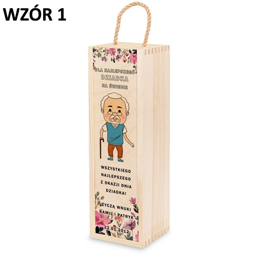 skrzynka na wino dla babci i dziadka - prezent wzór 1