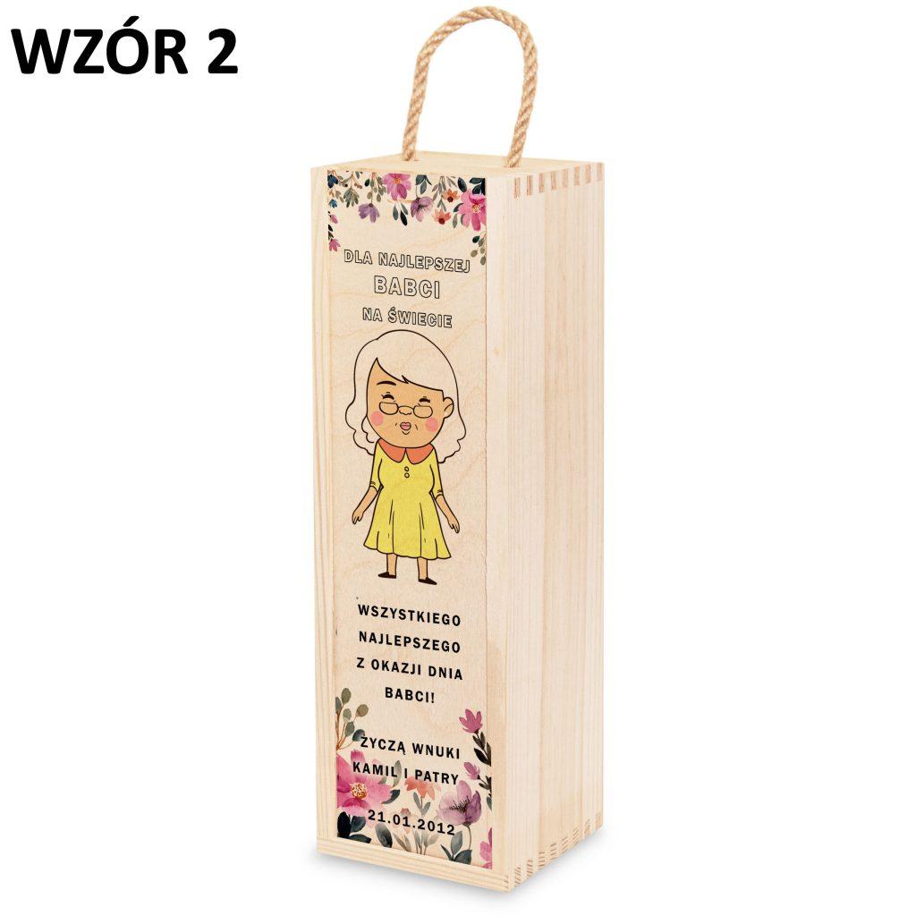 skrzynka na wino dla babci i dziadka - prezent wzór 2