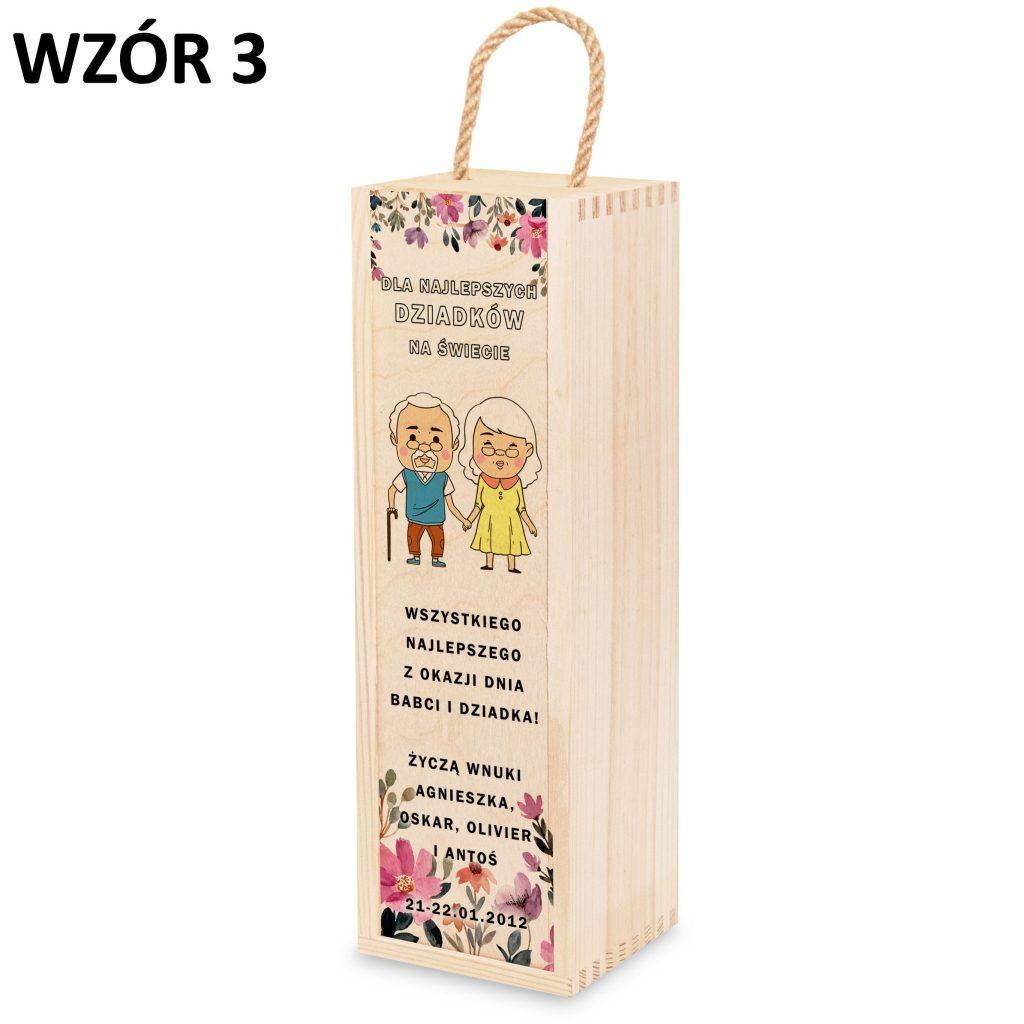 skrzynka na wino dla babci i dziadka - prezent wzór 3