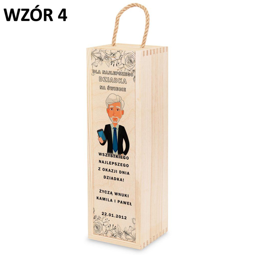 skrzynka na wino dla babci i dziadka - prezent wzór 4
